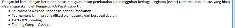 pembatalan agenda Kendo Indonesia 2020